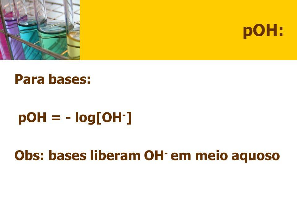 pOH: Para bases: pOH = - log[OH-]